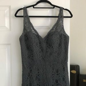Gray lace bridesmaids dress